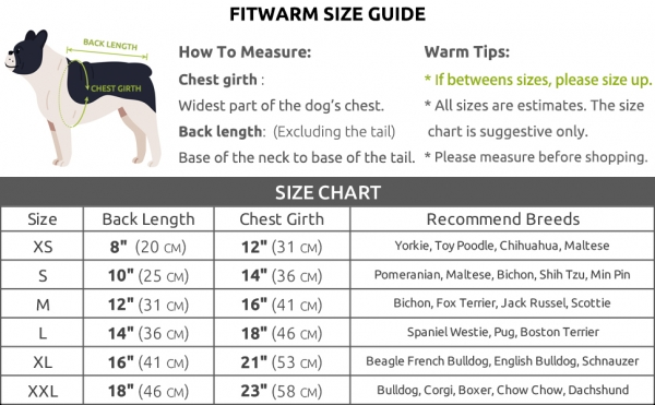Fitwar m dog size guide