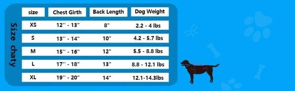 Blud dog size chart