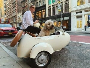 girl sitting with her dog in a sidecar